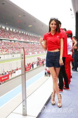 人气艺人江语晨现身上海国际赛车场,应邀出席2014赛道日嘉年华活动