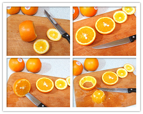 迷你香橙小果盘的做法   果盘材料:香橙   果盘装饰用:薄荷叶适量、水果插   制做水果插配料:牙签、糖果包装纸、双面胶带   做法:   1 、首先取橙子一个,用小刀将上下两面都切下一部分   2 、将橙子中部一分为二剖开   3 、用小刀插入橙皮和橙肉之间,旋转一圈   4 、取出橙肉    5 、再把橙肉一切四,分为小块   6 、剔除小块上白筋部分   7 、如图把切下的顶部或底部垫进中间橙皮圈中,形成一个小盘状   8 、把橙肉放进去    9 、水果插制做:准备好材料   10 、将糖