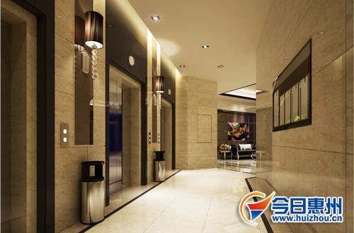 K5栋入户大堂电梯厅效果图-万林湖 崇文府2房45万 起 按揭付款98折优