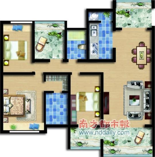 从建筑结构来看,该户型是一梯两户,板式结构,并且是只有11层的小高层