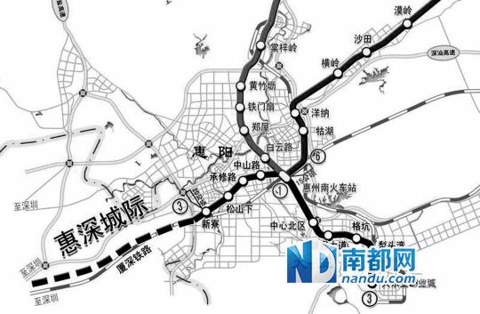 惠深城际轨道交通示意图