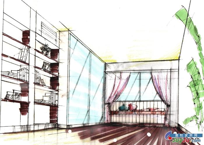 书房兼客房手绘图