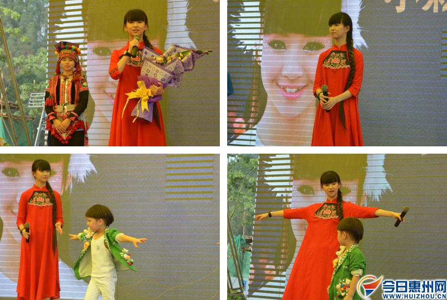 """小彩旗为""""我是舞明星""""少儿舞蹈赛决赛优胜选手们颁奖,并对部分选手"""