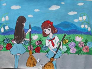 龙门县永汉镇第二小学 李柏灵 《共建文明城》图片