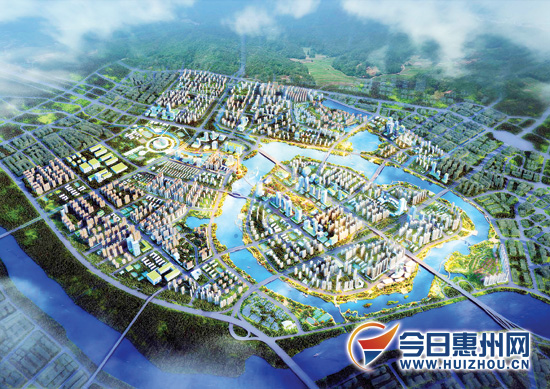 金山湖片区规划效果图. 图片由惠州市住房和城乡规划建设局提供