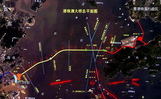 珠港澳大桥平面图-世界最长跨海大桥珠港澳大桥效果图