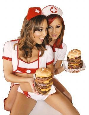 美女服务生和超肥腻汉堡