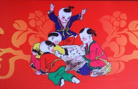 传统手绘年画放炮