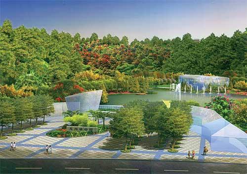 上图:惠州植物园首期鸟瞰图