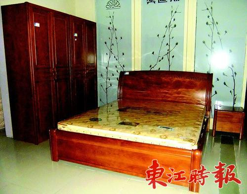 中式板木结合床.图片