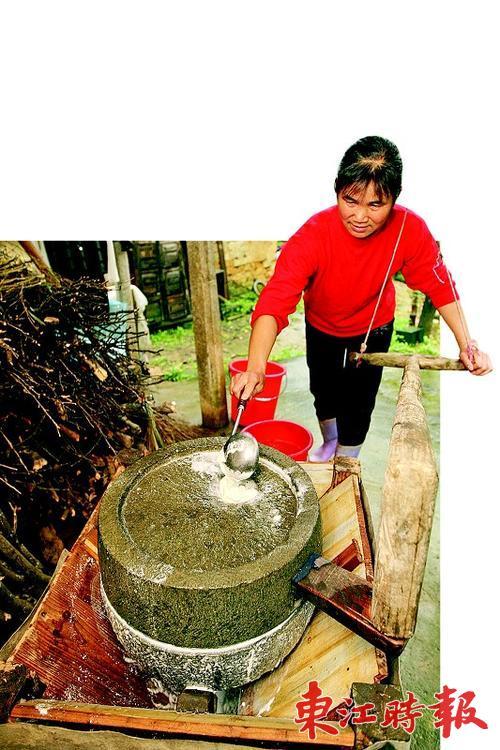 把豆浆舀起来,放在一个水桶里,杨锦娣取来一小勺石膏粉.